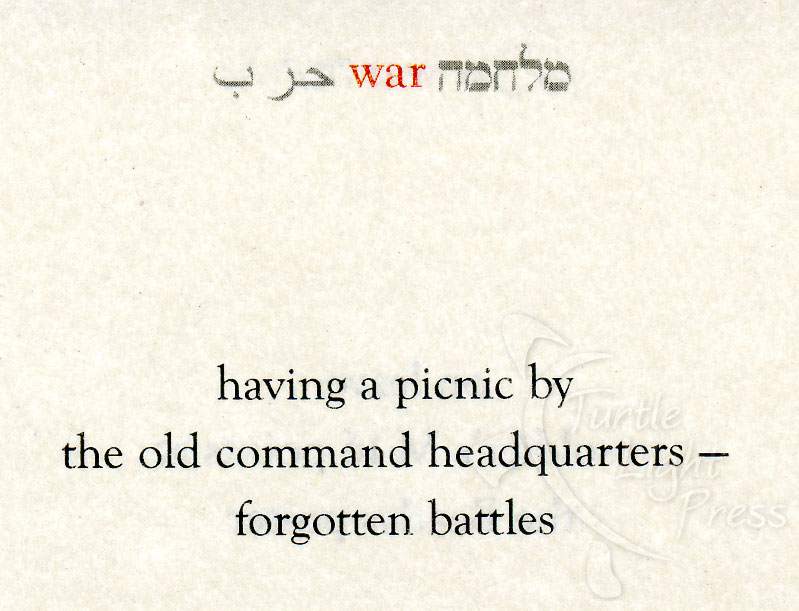peace and war in israel captured in haiku poems turtle light press
