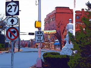 Dough boy street scene, Highland Park, NJ | after photo to art by Turtle Light Press
