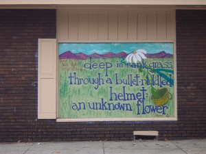 Street mural with one of Nick's poems