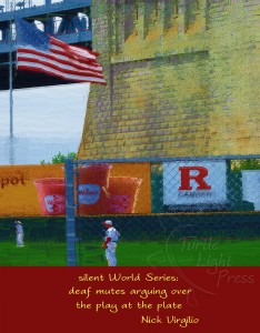 Digital art of baseball players at Campbell Field in Camden, NJ, combined with Nick Virgilio haiku