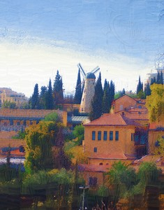 Jerusalem windmill note card