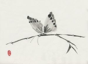 Butterfly print from a Japanese ink sumi-e painting