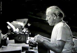 Nick Virgilio at his typewriter